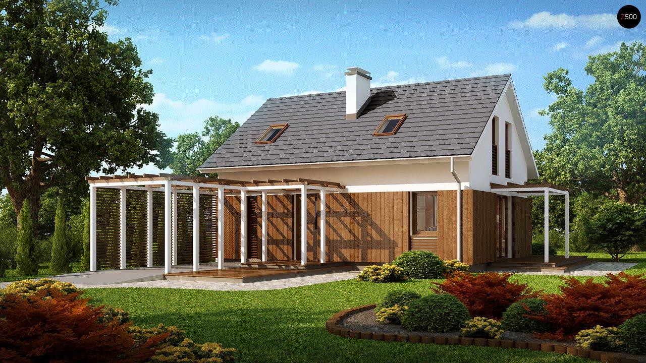 Проект дома в традиционном стиле с двускатной крышей. 1
