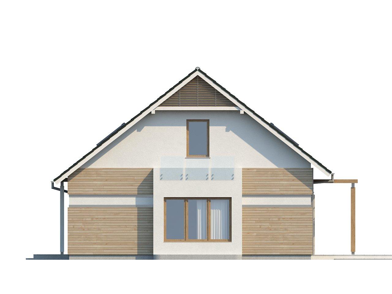 Проект практичного дома с эркером и гаражом на одну машину. 24