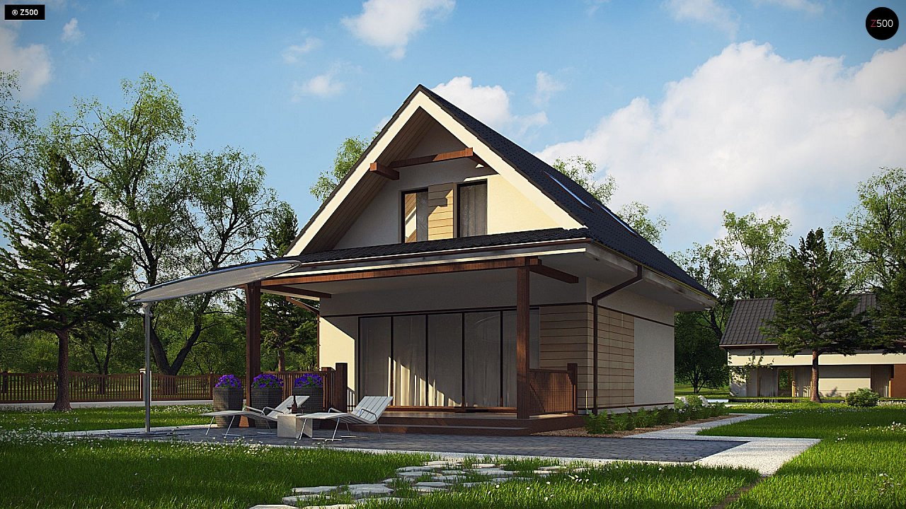 Небольшой мансардный дом с верандой, подойдет для строительства на узком участке. - фото 4