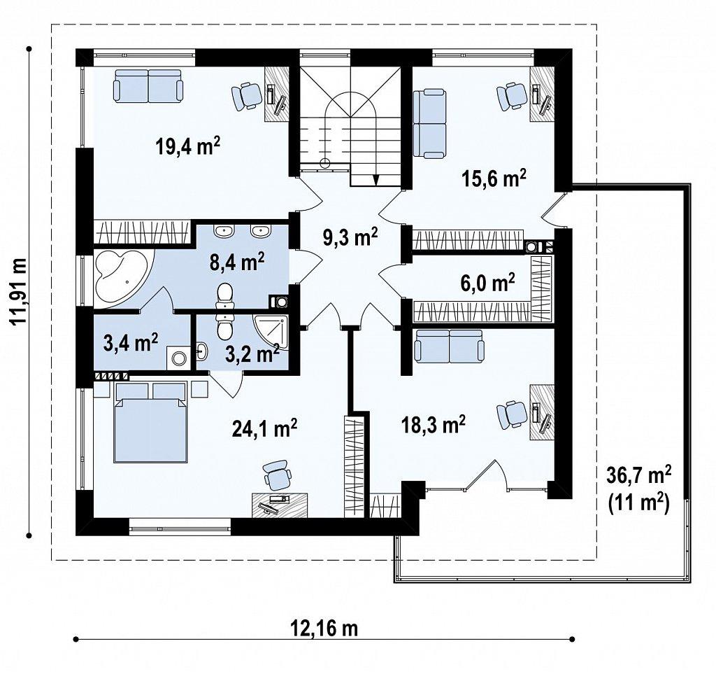 Комфортабельный двухэтажный дом простой формы со стеклянным эркером над гаражом. план помещений 2