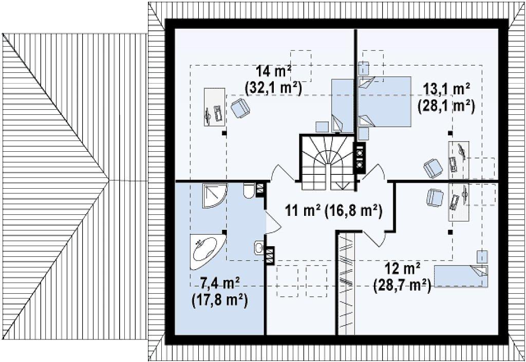 Современный дом с гаражом план помещений 2