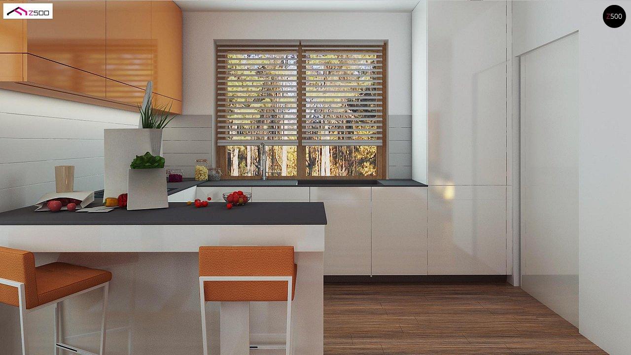 Элегантный дом простой формы со встроенным гаражом, эркером и балконом над ним. 3