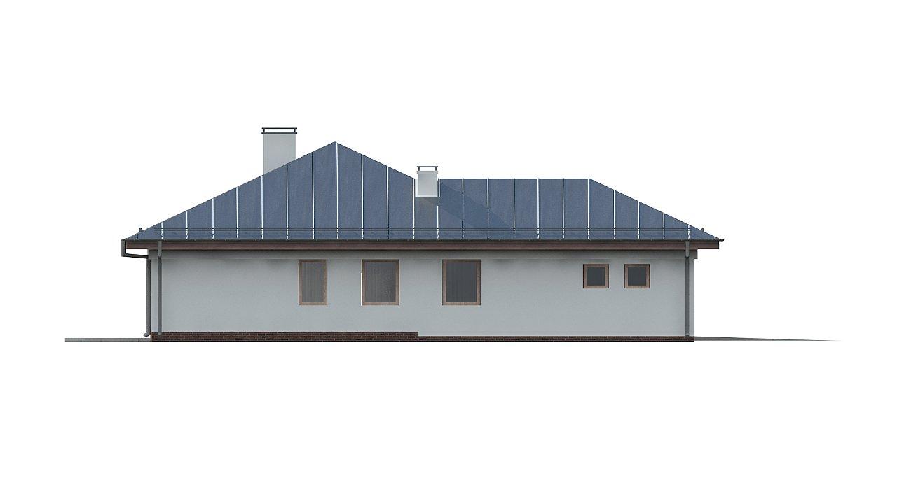 Функциональный одноэтажный дом с фронтальным гаражом для двух авто, большим хозяйственным помещением, с кухней со стороны сада. 24