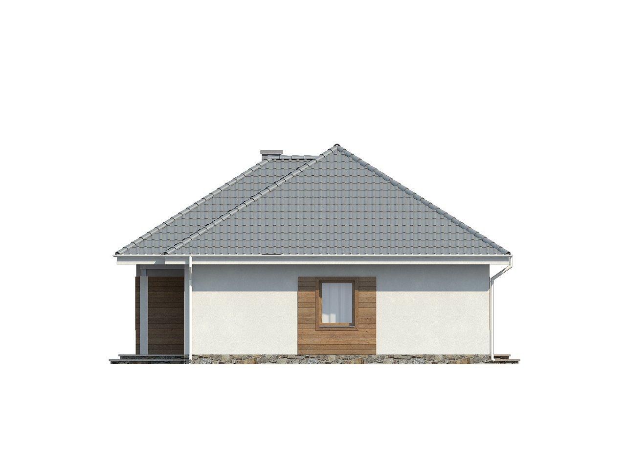 Проект одноэтажного практичного и уютного дома с крытой террасой. 25