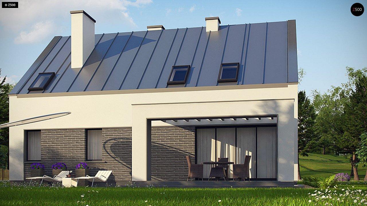 Проект мансардного с тремя спальнями и двускатной крышей 6