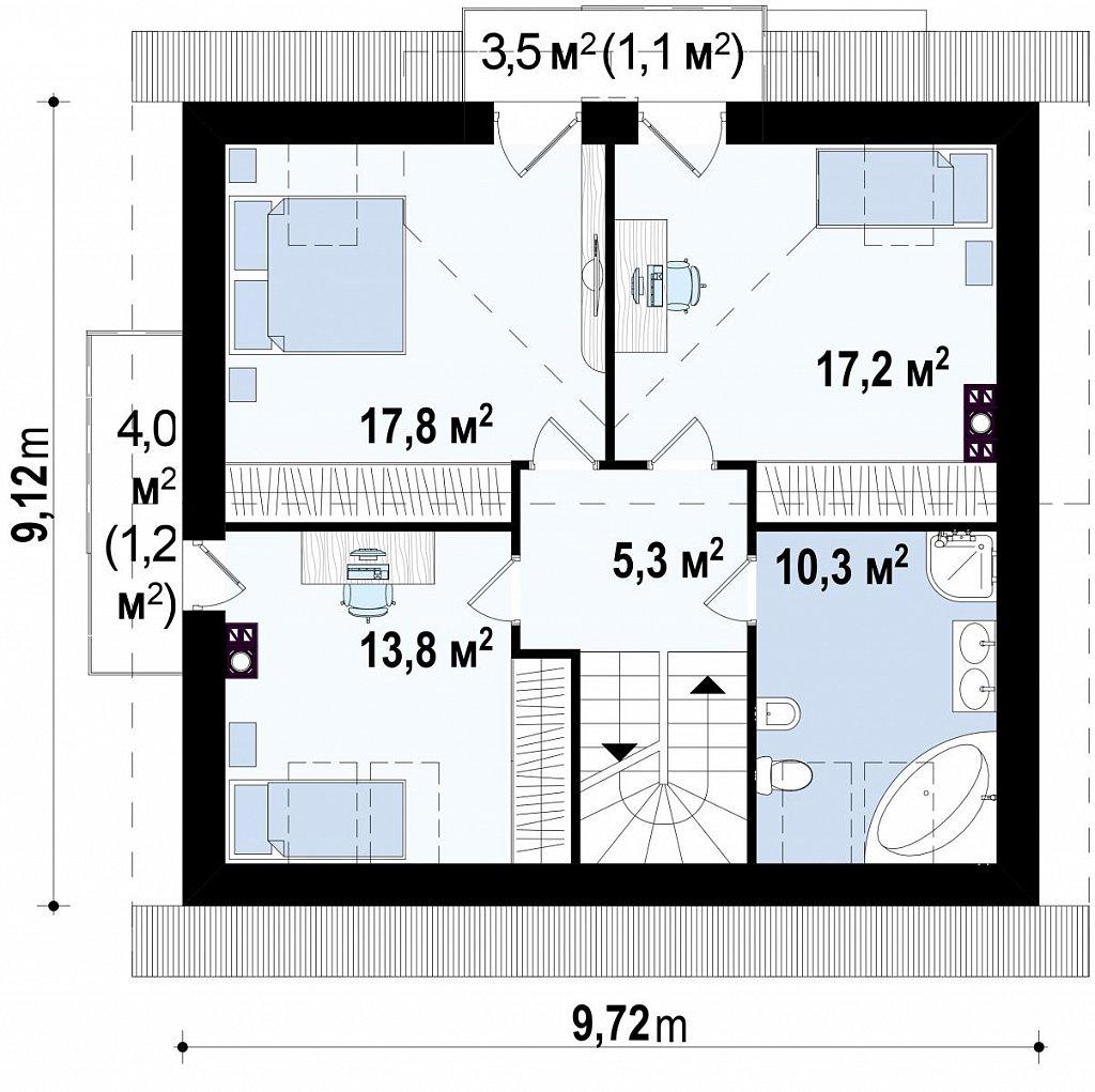 Современная версия проекта Z65 c изменениями в планировке. план помещений 2