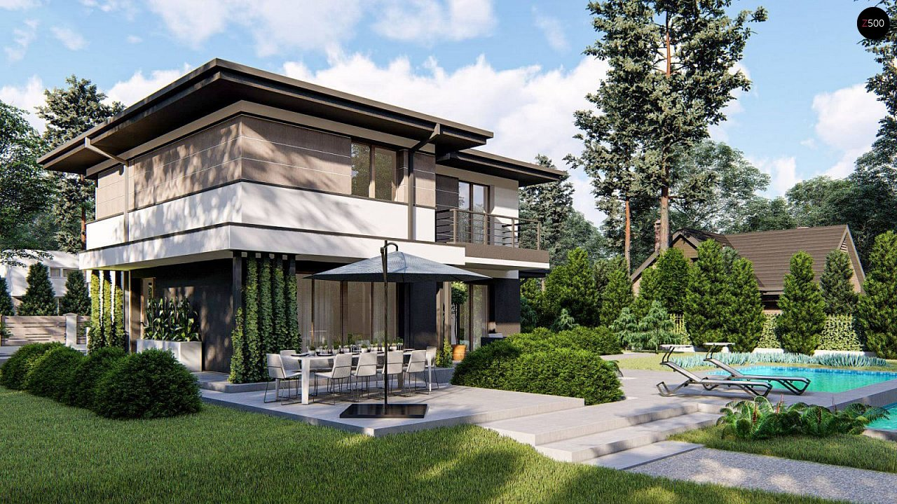 Вариант двухэтажного дома Z426 с многоскатной крышей 2