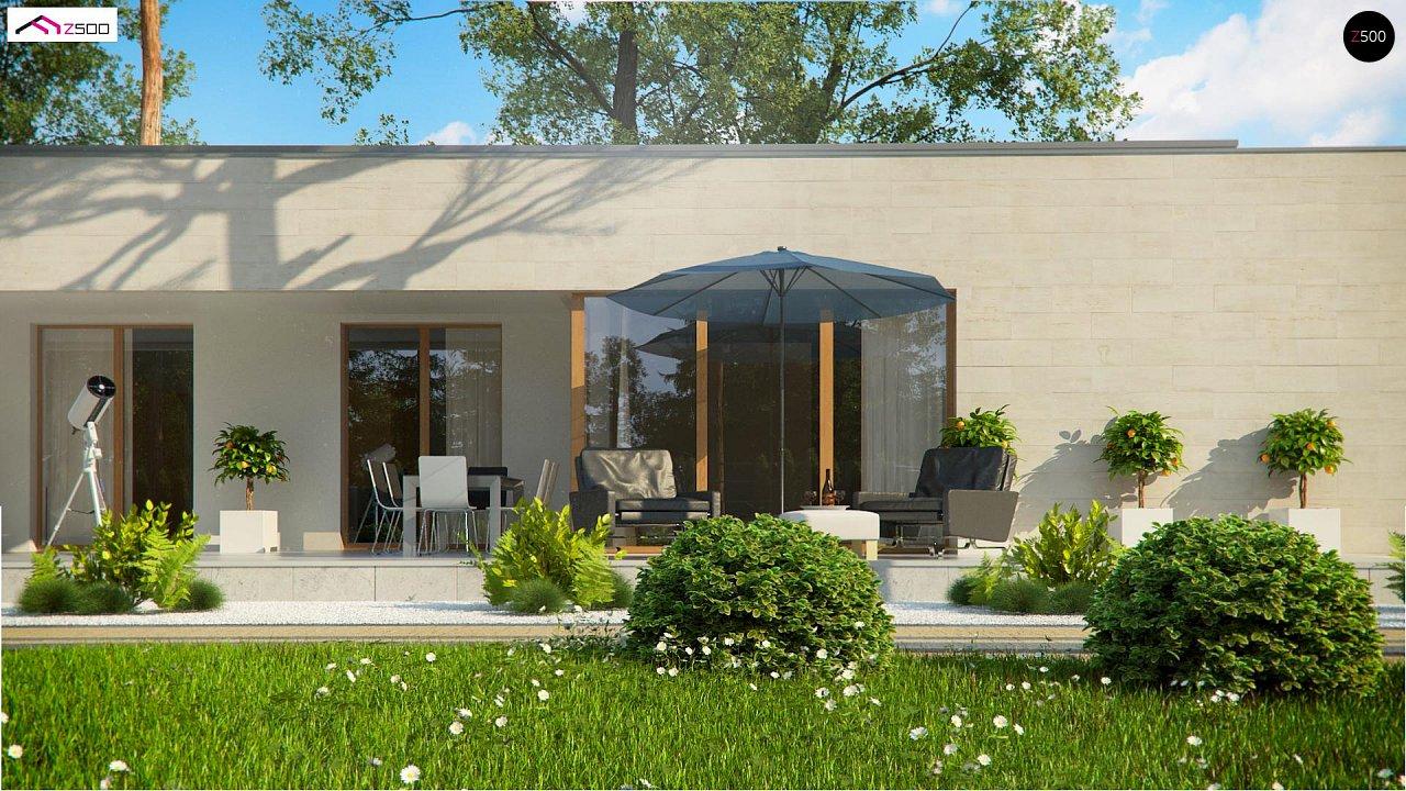 Одноэтажный дом в современном стиле, с большими застекленными окнами 7