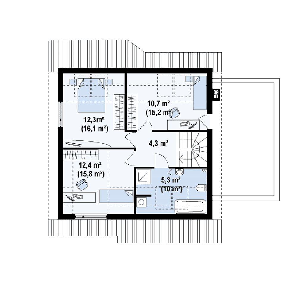 Вариант мансардного проекта Z146 c гаражом с правой стороны план помещений 2