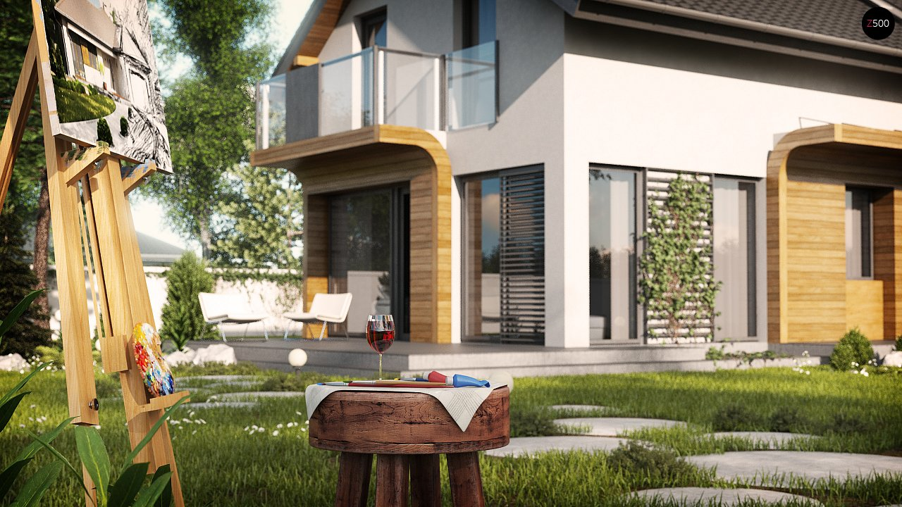 Практичный и уютный дом с оригинальным оформлением фасадов, идеальный для неглубокого участка. - фото 3