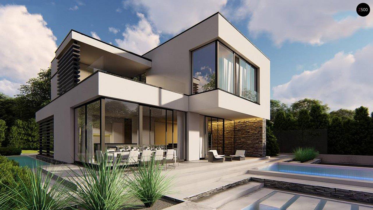 Двухэтажный проект дома для семьи из 4 человек с современным дизайном и навесом для машины 2
