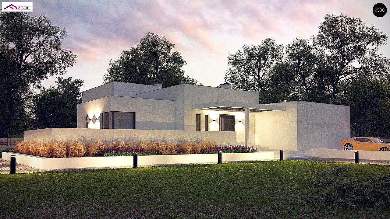 Современный проект с уникальным дизайном, оштукатуренным фасадом и гаражом 1