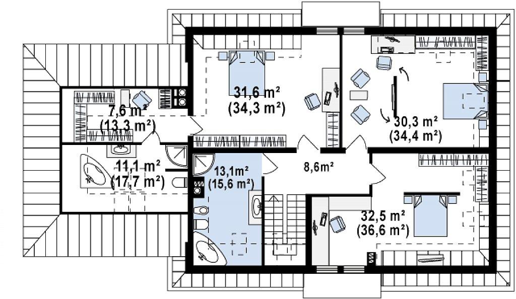 Проект дома Z50 в современной интерпретации. план помещений 2