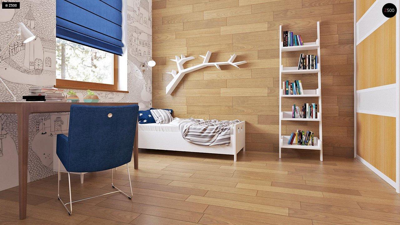Аккуратный одноэтажный дом с деревянной облицовкой фасадов, адаптированный для каркасной технологии. 11