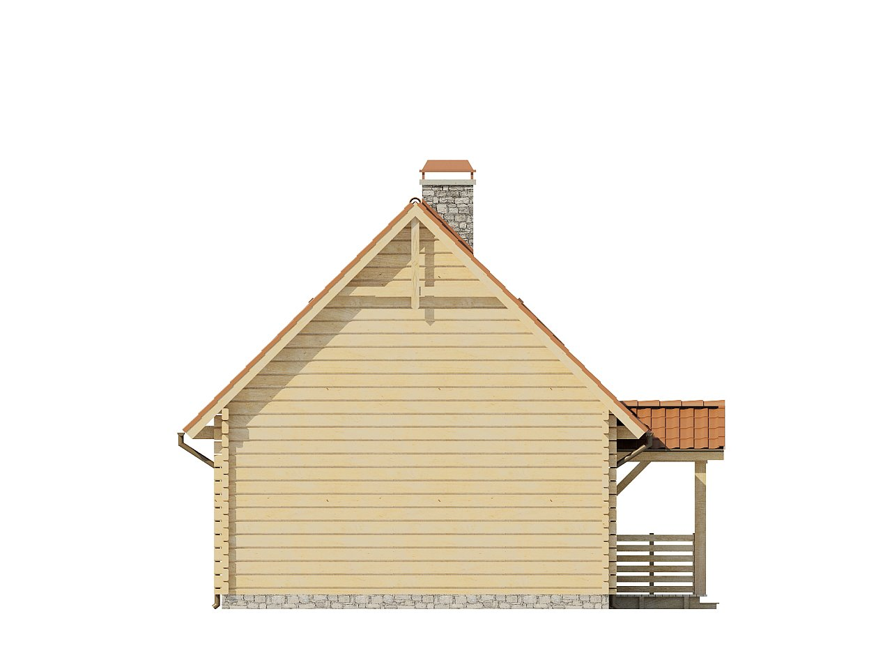 Проект небольшого дома с мансардой, с крытой боковой террасой. - фото 5