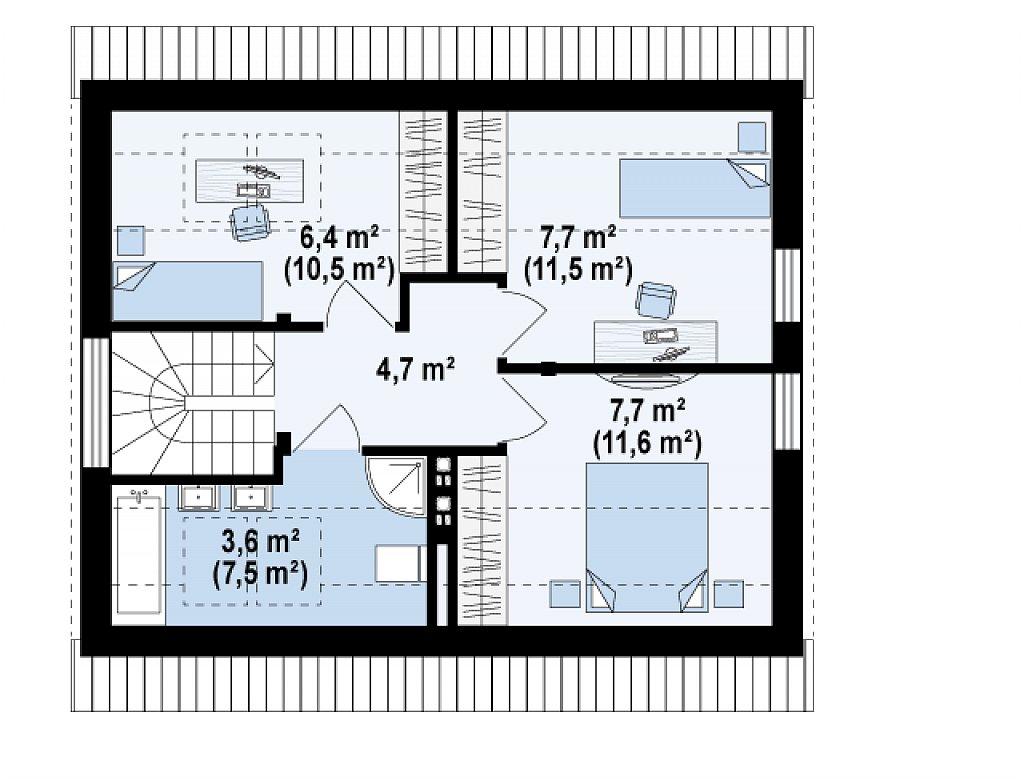 Компактный дом с дополнительной спальней на первом этаже, простой в строительстве, недорогой в эксплуатации. план помещений 2