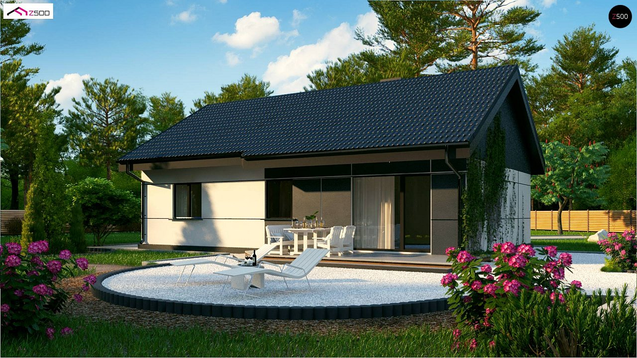 Проект одноэтажного дома традиционной формы с современным экстерьером. 2