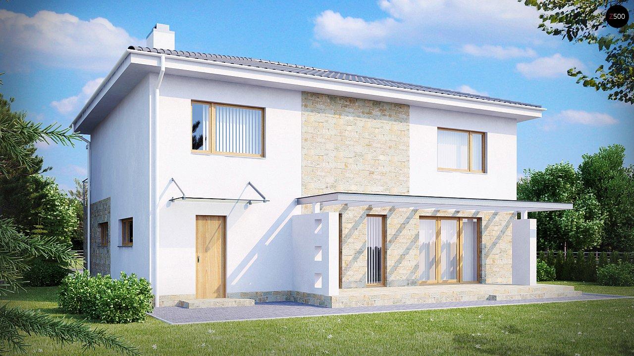 Двухэтажный дом с гаражом для одной машины, с интересным оформлением входной зоны. 2