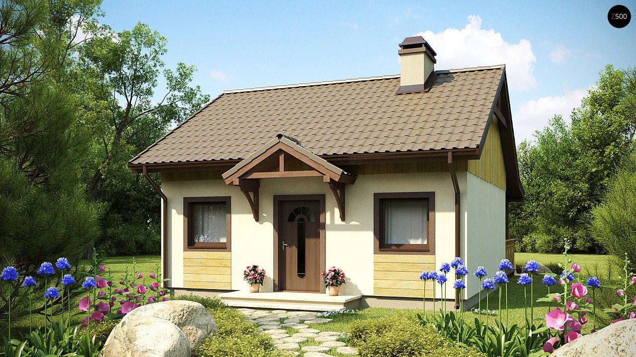 Выгодный в строительстве и эксплуатации маленький одноэтажный дом с крытой террасой. 1