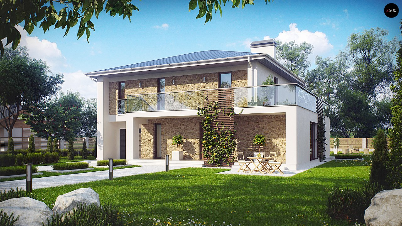 Просторный и комфортный двухэтажный дом с большими окнами. 2