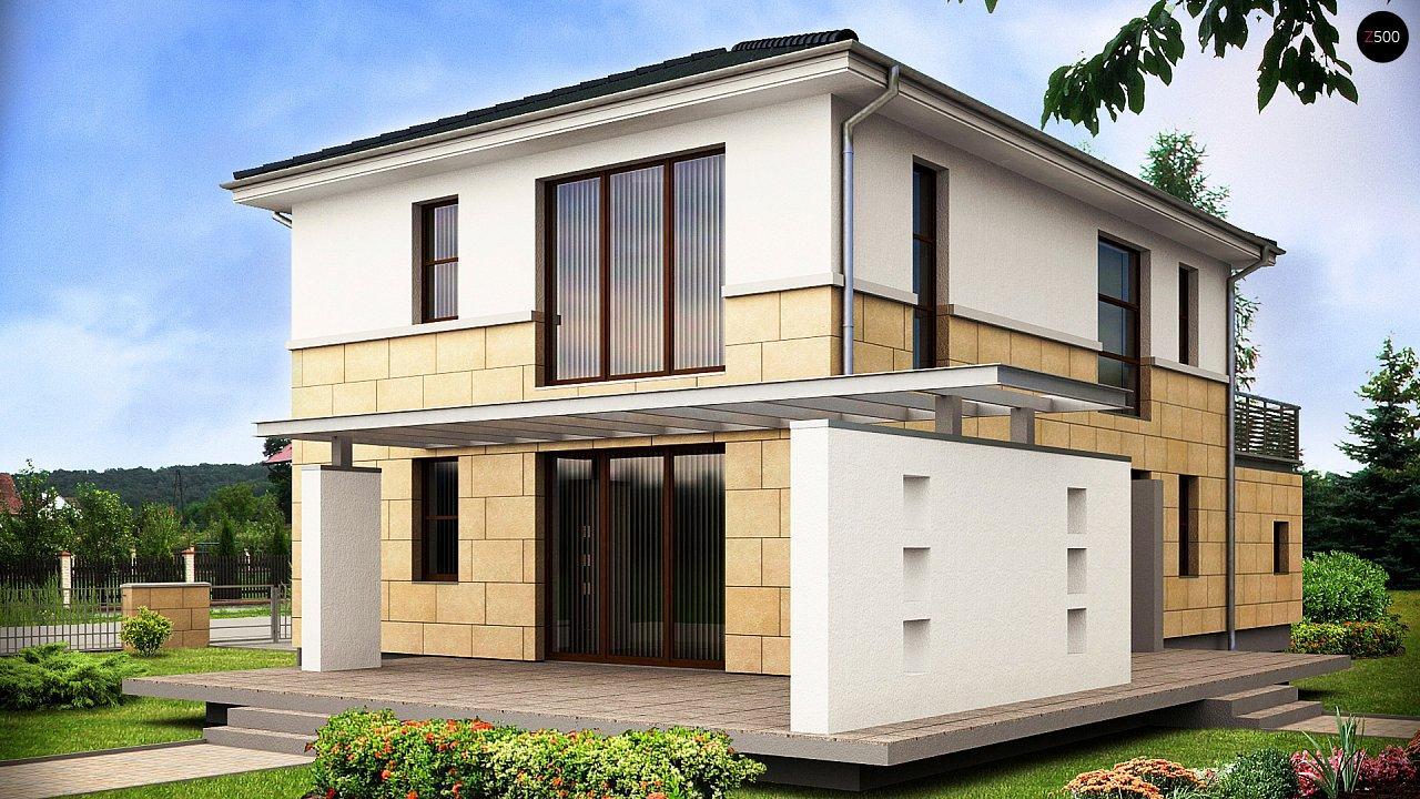 Современный двухэтажный дом простой формы с террасой на втором этаже. - фото 2