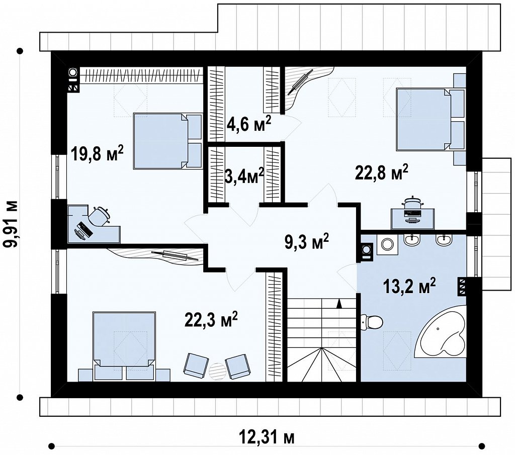 Проект функционального дома с эркером в столовой дополнительной спальней на первом этаже. план помещений 2
