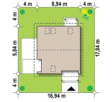 Проект дома с мансардой, с высокой аттиковой стеной, с дополнительной комнатой на первом этаже. план помещений 1
