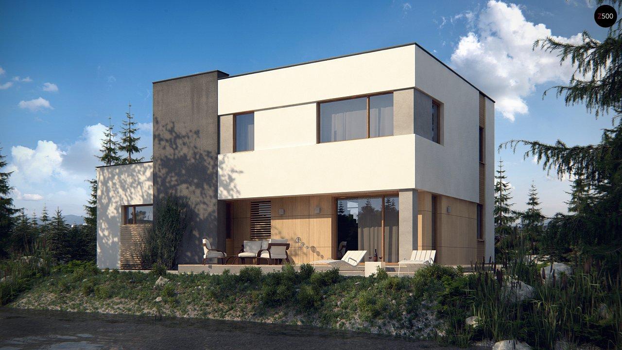 Двухэтажный дом в модернистского дизайна с гаражом и террасой на верхнем этаже. 3