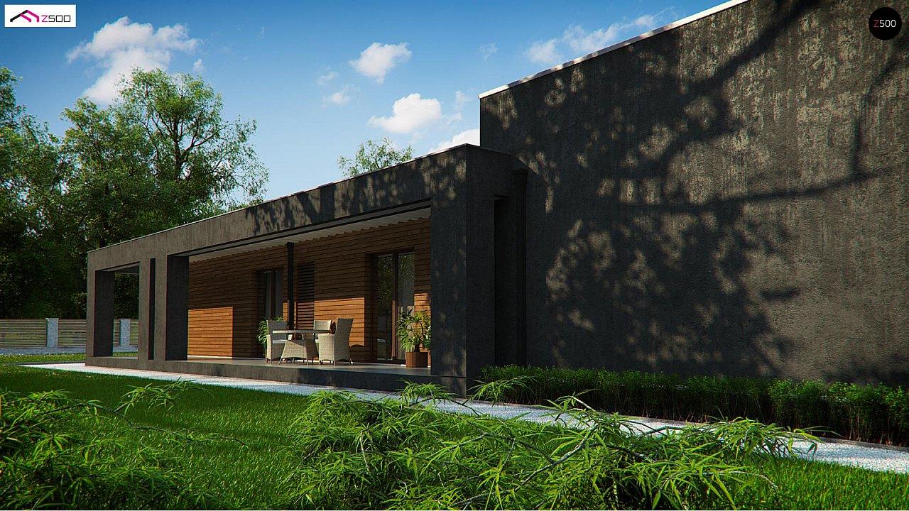 Одноэтажный дом с плоской кровлей и террасой 3