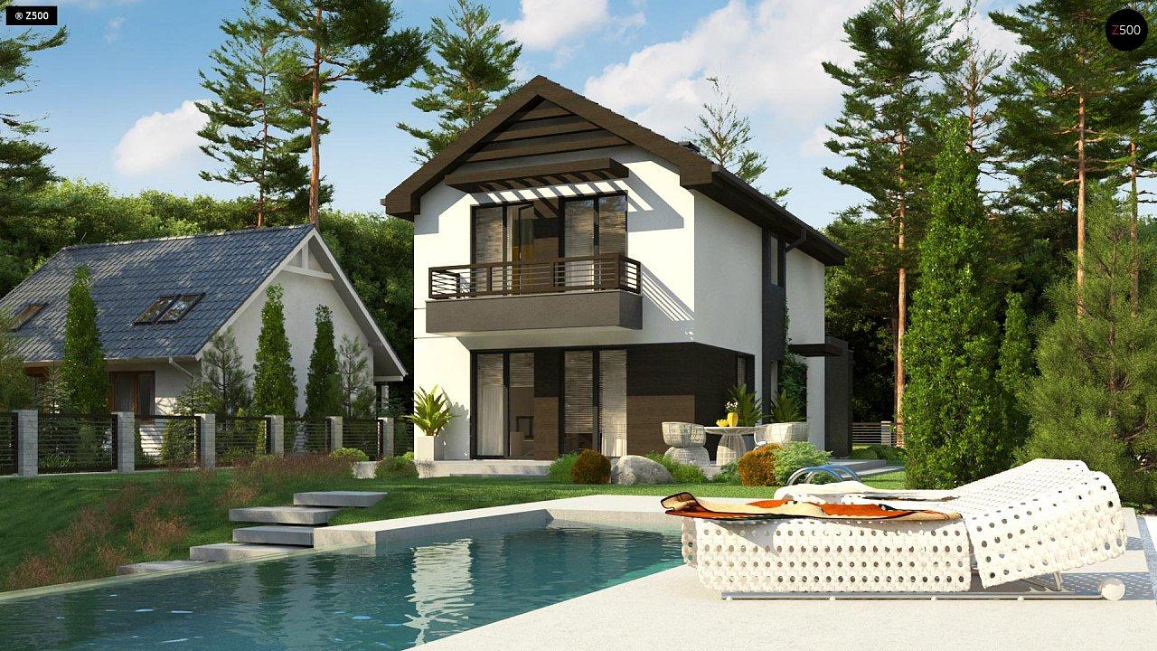 Проект двухэтажного дома в современном стиле, подойдет для строительства на узком участке. - фото 1