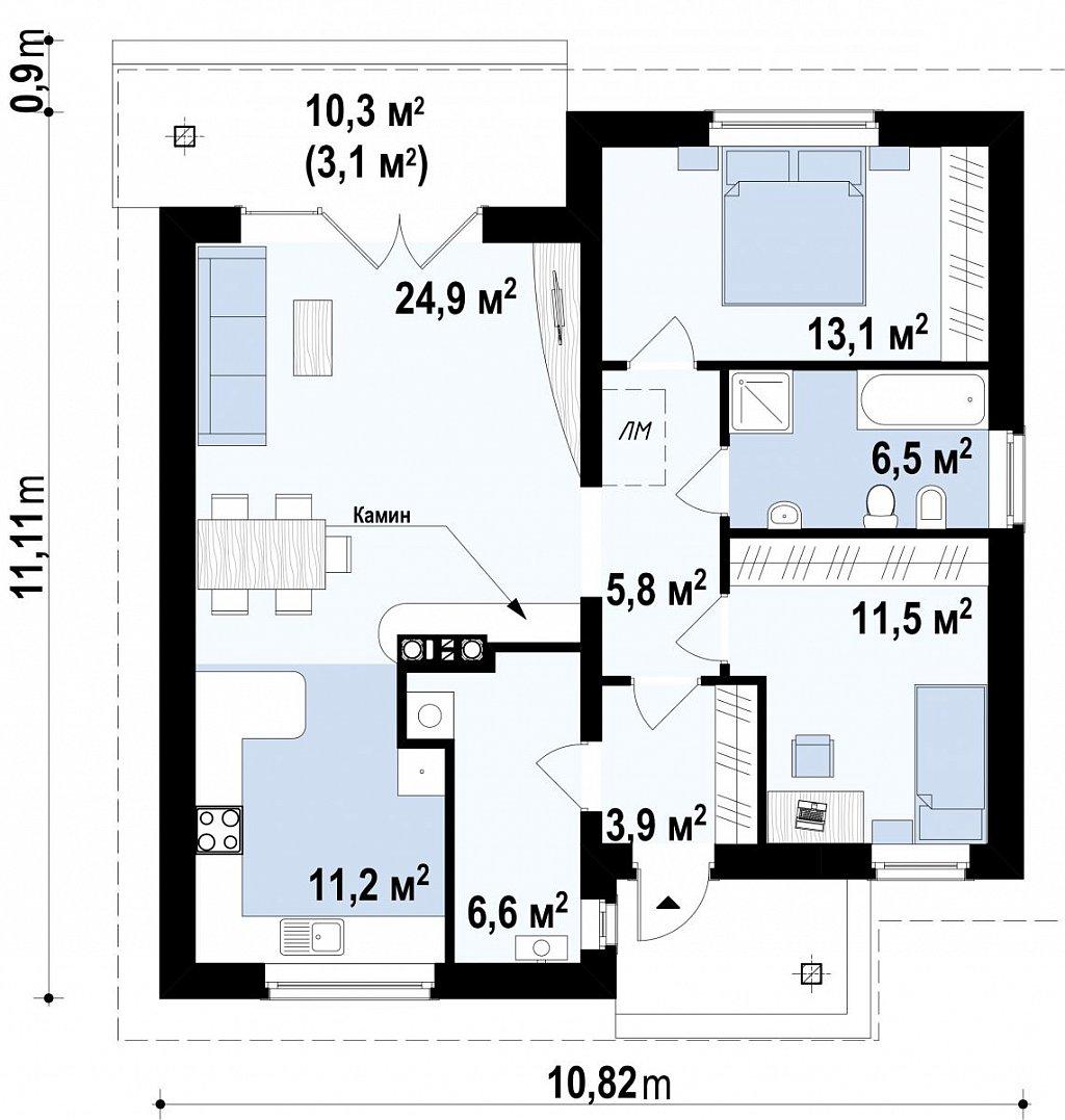 Проект одноэтажного практичного и уютного дома с крытой террасой. план помещений 1