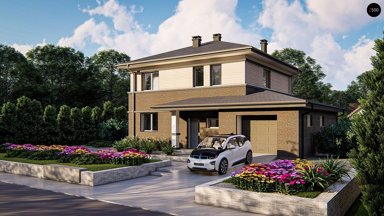 Проект двухэтажного дома на фасаде с клинкерным кирпичом - фото 2