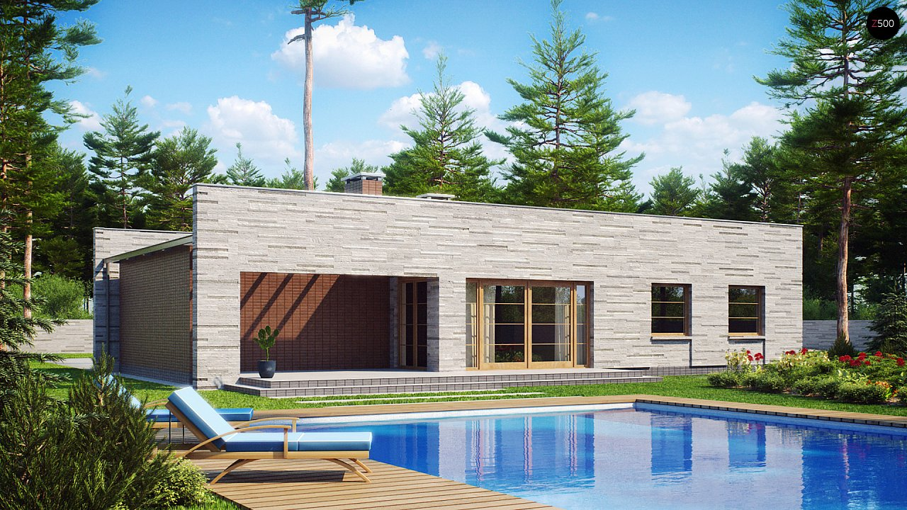Одноэтажный дом с плоской крышей, со светлым функциональным интерьером и гаражом. 4