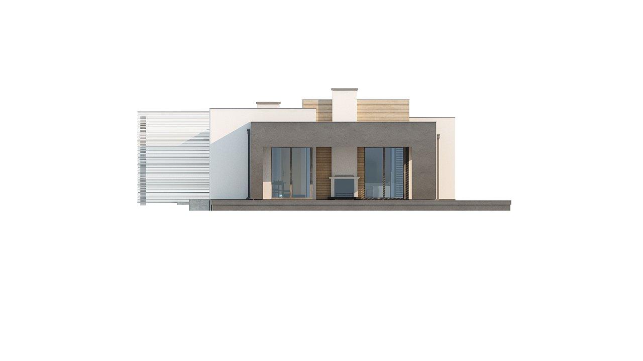 Одноэтажный дом в стиле хай-тек с плоской кровлей и большой площадью остекления. 31