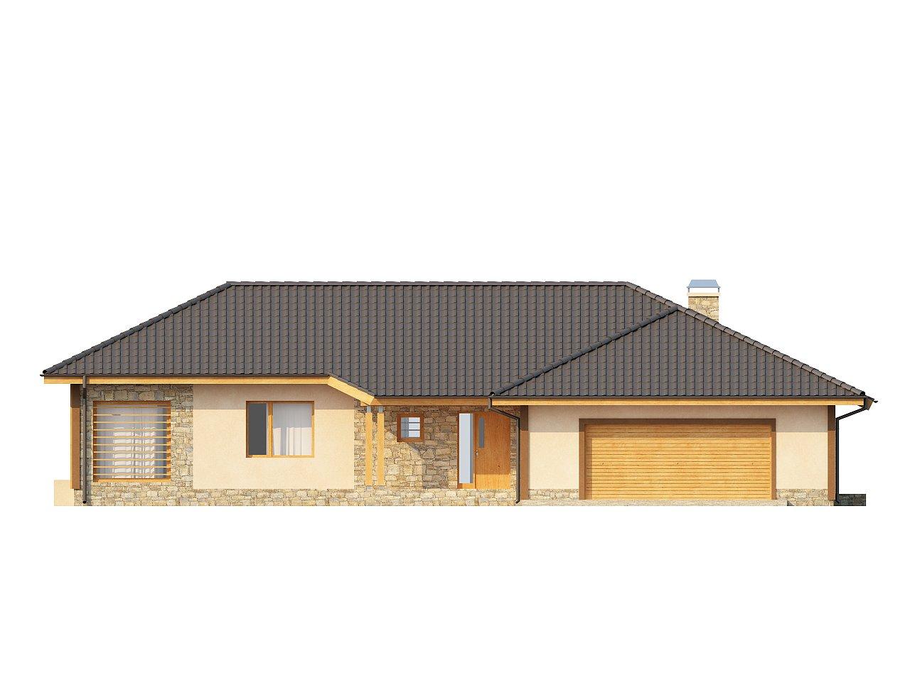 Проект одноэтажного дома с выступающим фронтальным гаражом. - фото 3