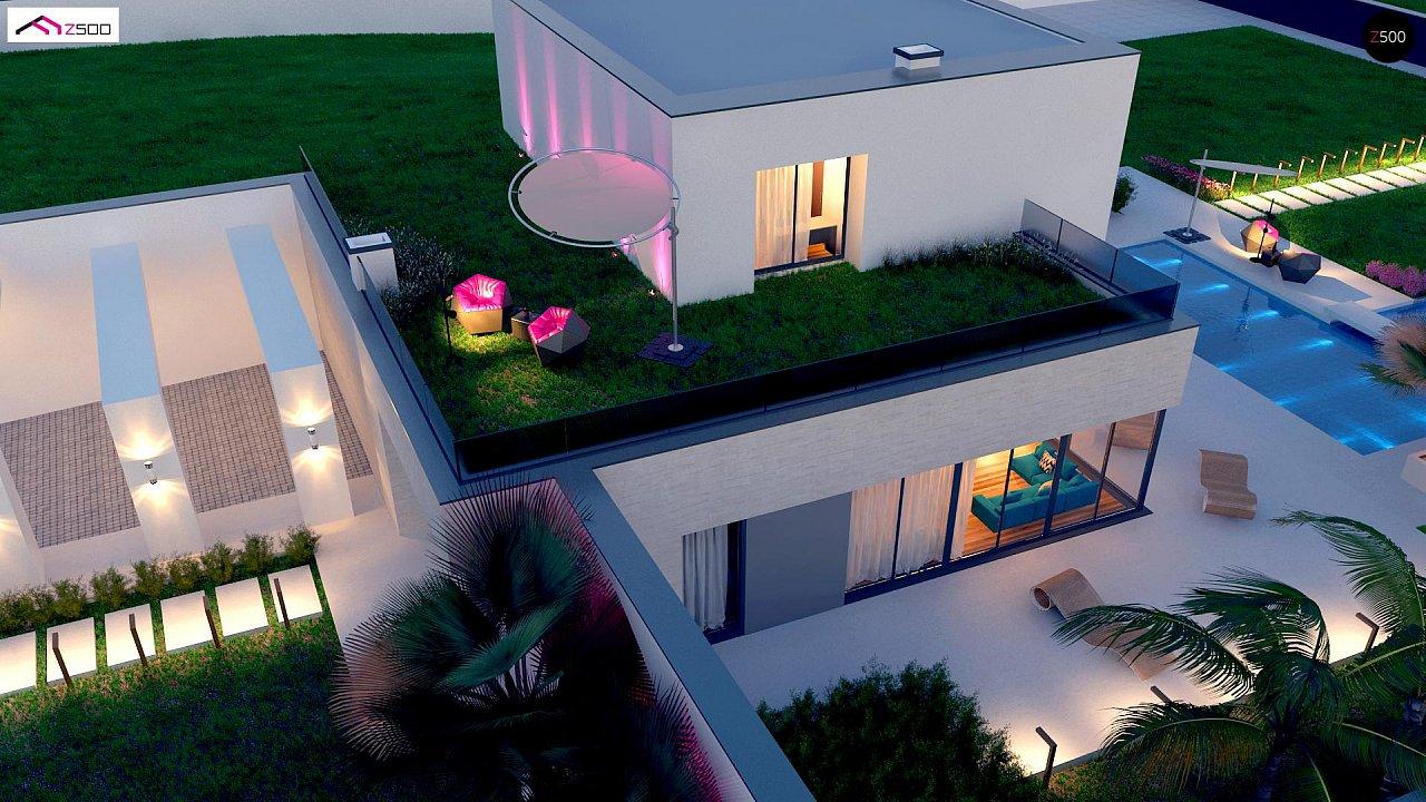 Стильный современный проект двухэтажного дома, подходит для строительства на участке со склоном. 4