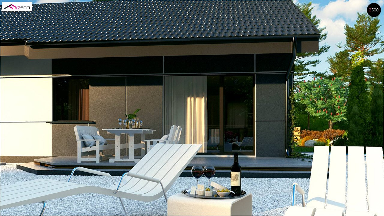 Проект одноэтажного дома традиционной формы с современным экстерьером. 5