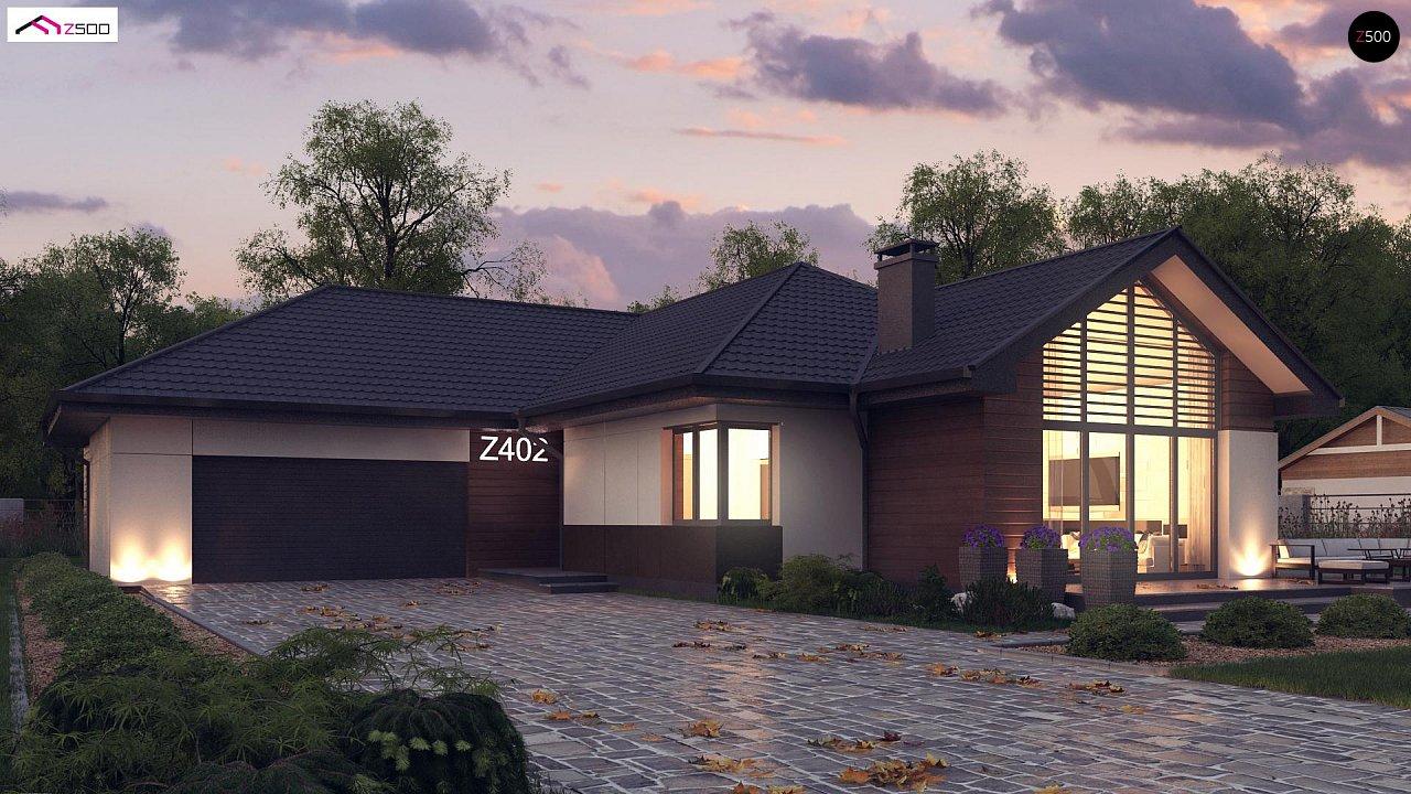Стильный одноэтажный дом с панорамным остеклением в гостиной - фото 1