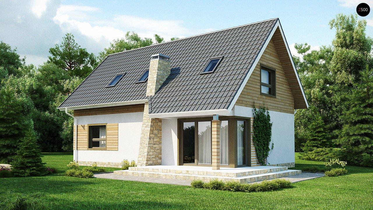 Традиционный дом простой формы с двускатной крышей, с дополнительной комнатой на первом этаже. 1