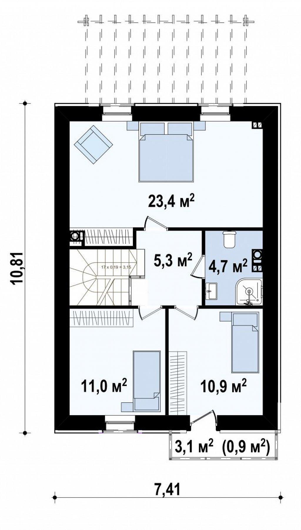 Новый вариант проекта Z38 - уютного двухэтажного дома. план помещений 2