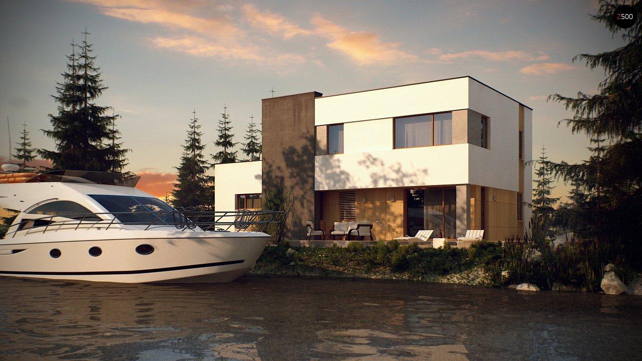 Двухэтажный дом в модернистского дизайна с гаражом и террасой на верхнем этаже. 8