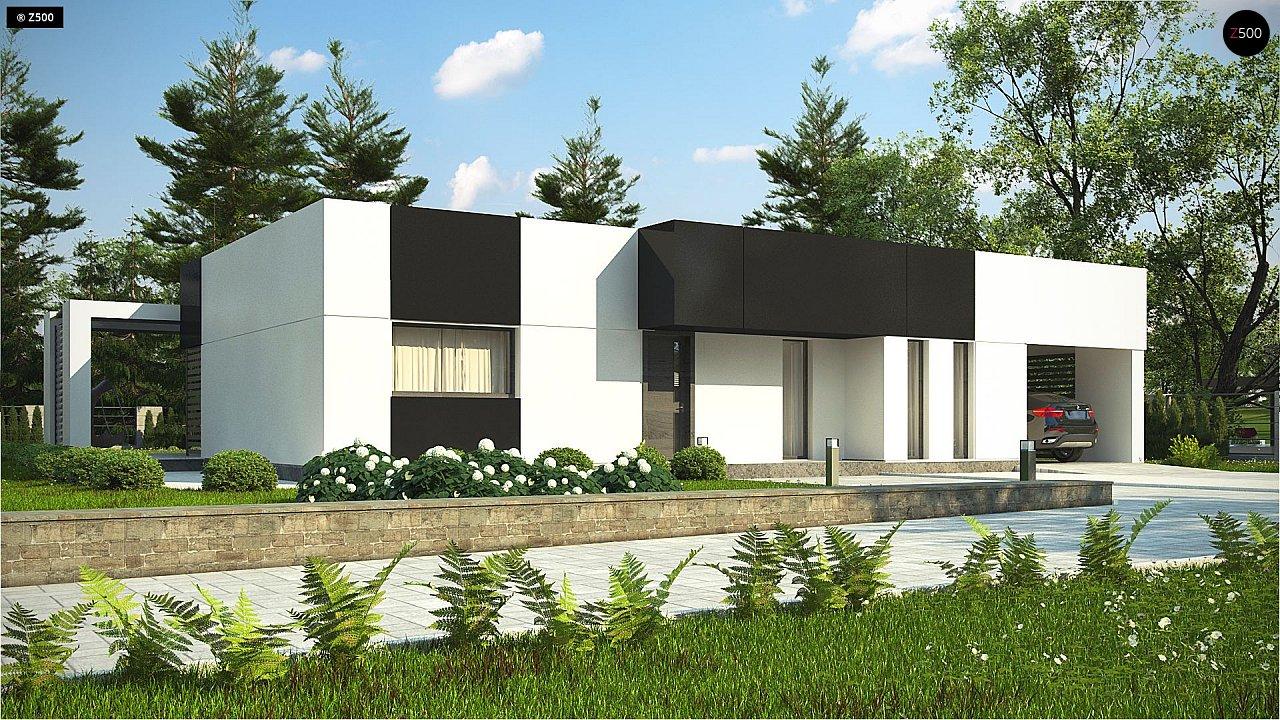 Проект современного одноэтажного дома с черно-белыми фасадами и открытым гаражом на 2 машины 1