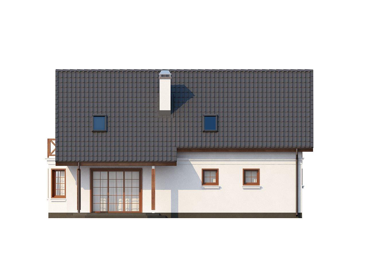Элегантный дом простой формы со встроенным гаражом, эркером и балконом над ним. 13