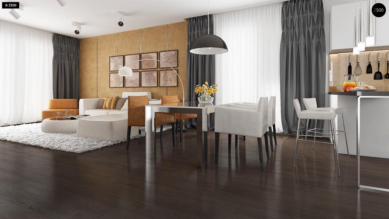 Проект удобного одноэтажного дома с гаражом для двух автомобилей и большим хозяйственным помещением. 5