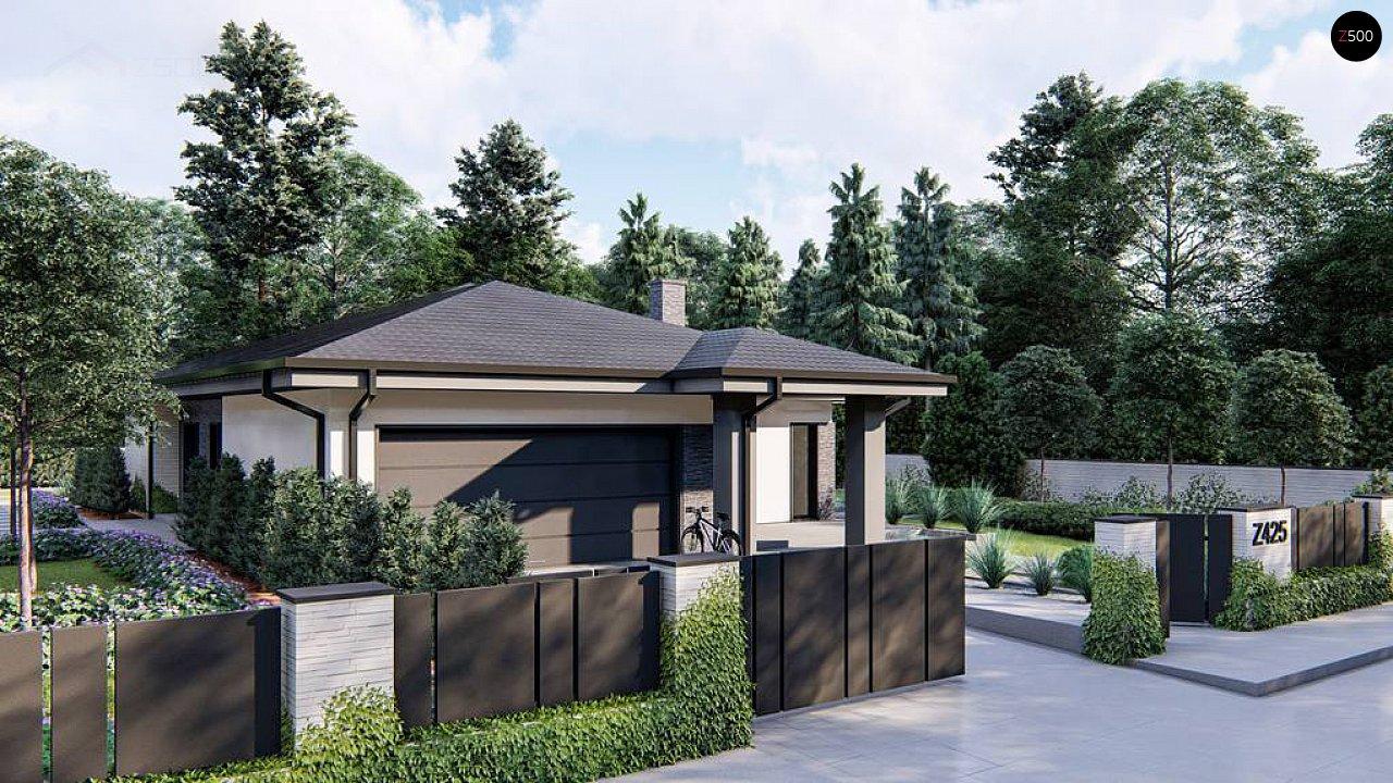 Cовременный одноэтажный дом с многоскатной крышей и гаражом на две машины. 2