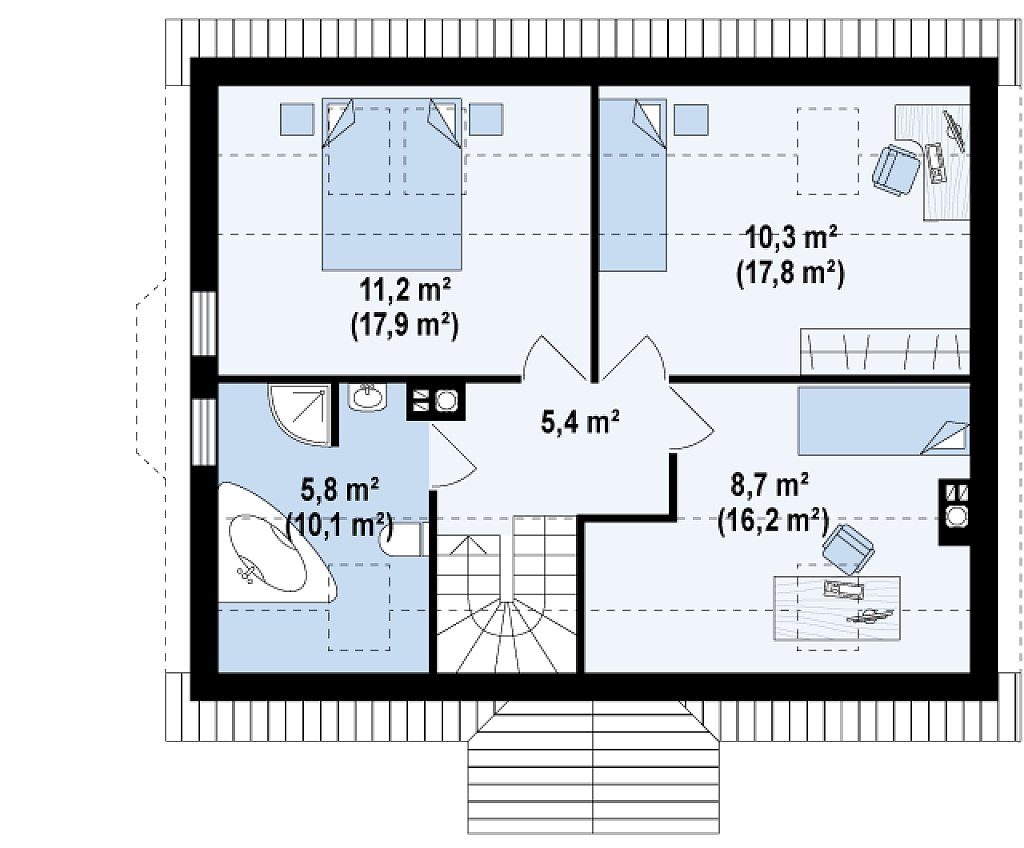 Версия проекта Z14 c боковым эркером план помещений 2