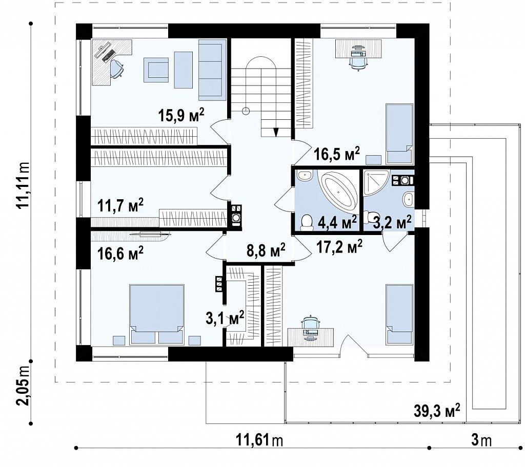 Просторный двухэтажный дом простой формы с террасой над гаражом. план помещений 2