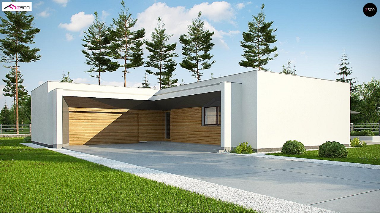 Современный плоскокровельный дом с компактной и удобной планировкой 1