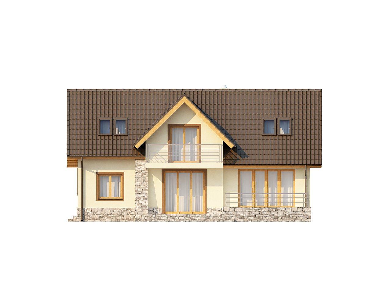Проект традиционного дома с гаражом для двух машин и боковой террасой. 4