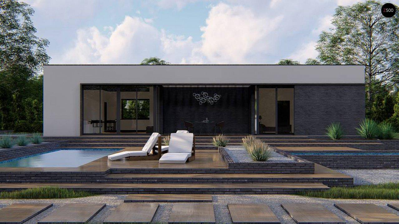 Одноэтажный современный дом с плоской крышей и белым фасадом 4